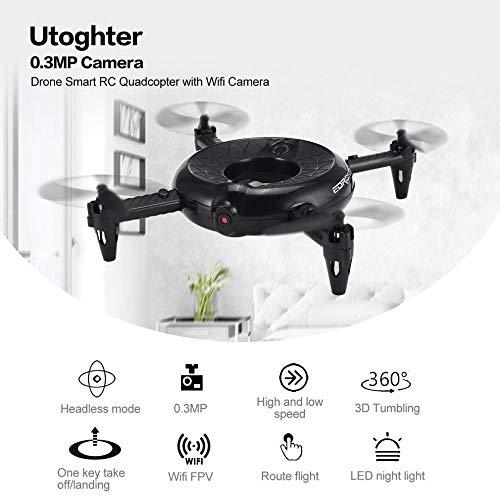 Hisoul Utoghter 422 Doughnut Quadcopter 0.3MP HD Camera 6-axis WiFi FPV Altitude Hold LED Pocket Drone - Headless Mode, One-Key Return, Speed Mode, 360 Degree Roll (Black)