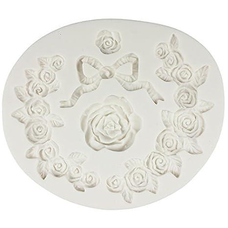 musykrafties Rosa Floral Encaje Borde LAZO Fondant Caramelo Molde de silicona para modelado azúcar decoración tartas,Adorno Pasteles,Polímero Flexible,Jabón ...