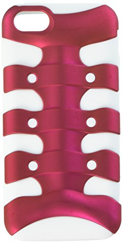 MYBAT Titanium Ribcage Hybrid Protector Cover for iPhone 5C - Retail Packaging - Solid Hot Pink/Solid White Ribcage