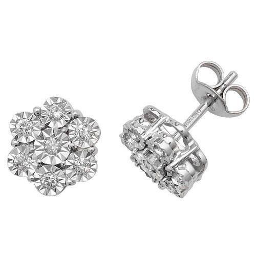 Illusion Diamant Boucles d'oreilles or blanc 9carats hpk10,25carats