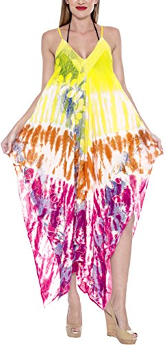 LA LEELA Rayon Tie Dye Casual Printed Sundresses Womens Yellow 3412 One Size