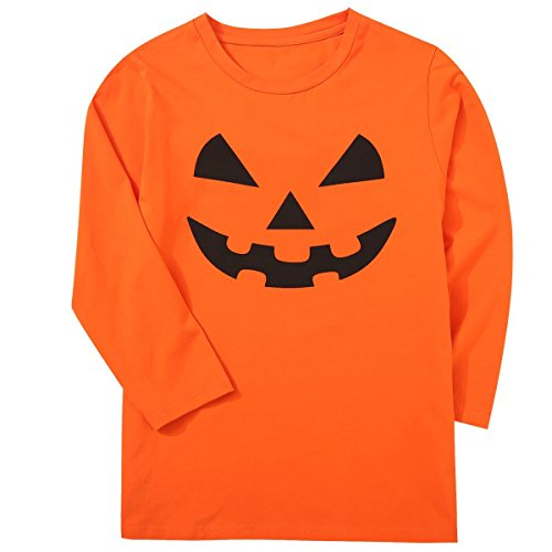 Children Boys' Jack O' Lantern Pumpkin Face Halloween Costume Kids Orange T-Shirt -