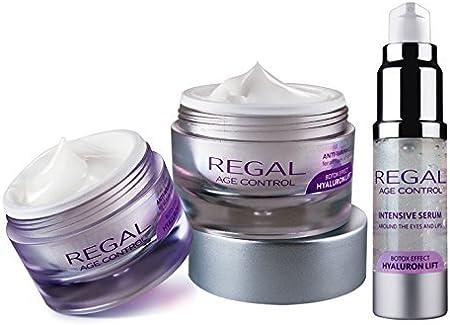 Regal Age Control - Pack de 3 cremas con efecto antiarrugas y lifting - Crema de día, Crema de Noche y Serum Contorno de Ojos y Labios
