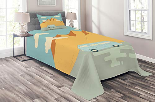 Lunarable Camp Friends Coverlet, Road Trip Theme with Mountain Landscape and Clouds Cartoon, 2 Piece Decorative Quilted Bedspread Set with 1 Pillow Sham,Twin Size, Pale Blue Pale Brown and Beige