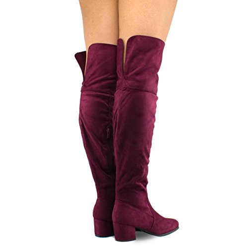 Boot Low Shoe Heel Over Sexy Boot Trendy Over Block The Women's Stretch Easy Premier Boot Burgundy Knee The Su Standard Knee Heel Yq4Cv4