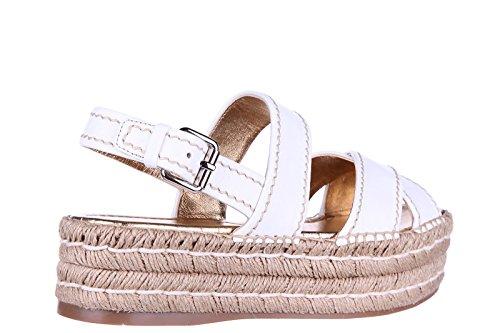 Prada compensées escarpins chaussures sandales femme cuir blanc
