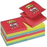 Post-It R330-12SS-JP - Pack de 12 notas super sticky, 76 x 76 mm, multicolor (amapola / verde neón / azul mediterráneo)