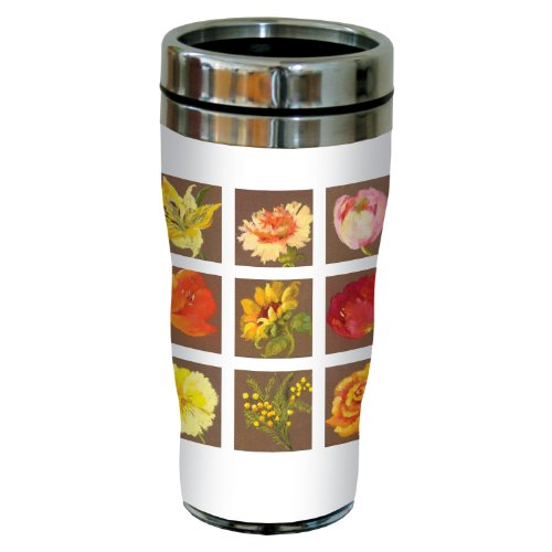 Tree-Free Greetings sg23702 Tiled Flowers on Brown by Nel Whatmore Travel Tumbler, 16-Ounce