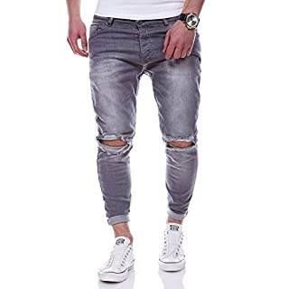 Men's grey ripped jeans