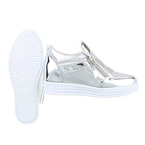 Ital-Design High-Top Sneaker Damenschuhe High-Top Moderne Reißverschluss Freizeitschuhe Silber