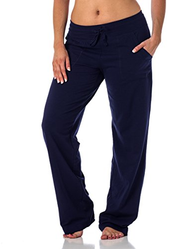 (Women's Straight Leg Knit Lounge Pants With Pockets, Navy XL)