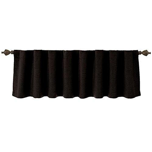 - Beautyrest 11239042X018BTBK Chenille 42-Inch by 18-Inch Rod Pocket Ascot Single Window Valance, Black