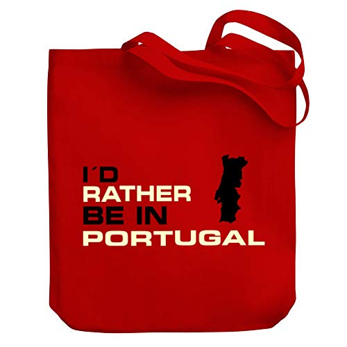 Teeburon I'd rather be in Portugal Map Canvas Tote Bag 10.5