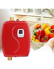 Klein Durchlauferhitzer - Haofy 230V 3800W Mini Durchlauferhitzer mit LCD-Anzeige, Konstanter Temperatur Elektrischer Heißer Tankless Warmwasserbereiter für Badezimmer Küche Dusche (EU Plug) - Rot