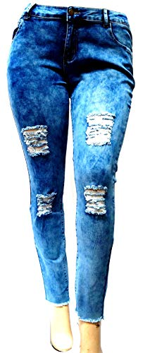 - Jack David/Sweet Look/Pasion Womens Plus Size Acid Wash Distressed Ripped Blue Skinny Denim Jeans Pants Super Plus Size 14-34 (18, GAZOZ Blue Ripped L0026X Acid WASH)