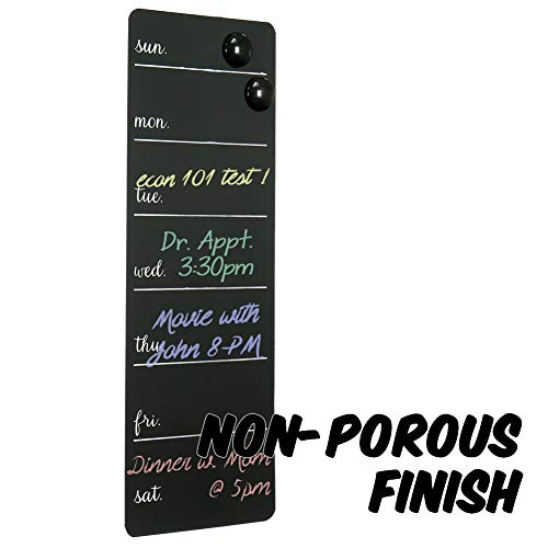 Markin Arts Rustic Series Non-Porous Surface Aluminum Alloy Modern Vertical Slim Magnetic Buttons Design Wall Mount Hanging Chalkboard Business Memo Note Weekly Schedule Picture Board Sign Black