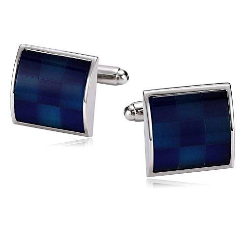Aokarry Dark Blue Square Cufflinks for Men Epoxy, Stainless Steel Mens Cufflinks, Business Wedding Shirt