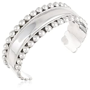 Sterling Silver Beaded Edge Cuff Bracelet from Amazon Curated Collection