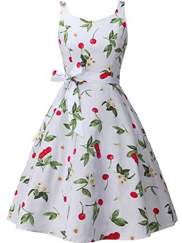 FAIRY COUPLE Women's 1950's Bowknot Vintage Retro Polka Dot Rockabilly Party Swing Dress XS Cherry