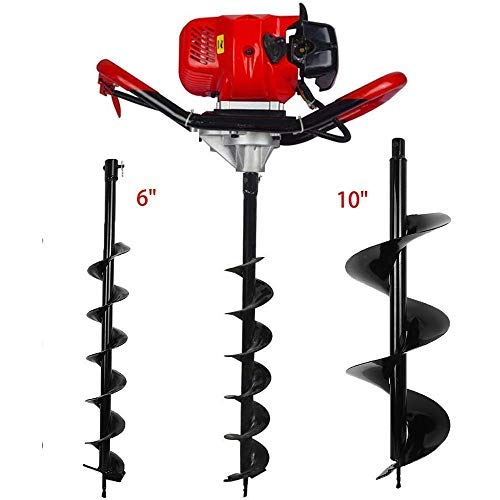 FISTERS 52CC 2 Stroke Gas Powered Post Hole Digger With Auger 6'' + 10'' Bits Garden Tools by Fisters