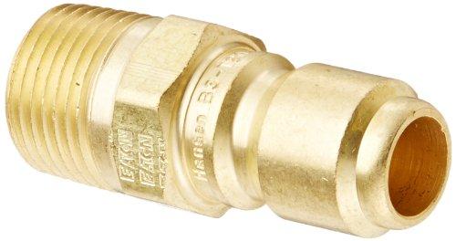 "Eaton Hansen B3T20 Brass Straight Through Ball Lock Hydraulic Fitting, Plug, 3/8""-18 NPTF Male, 3/8"" Port Size, 3/8"" Body (Pack of 4)"