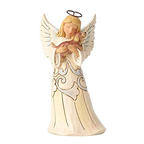 Enesco Jim Shore Heartwood Creek White Farmhouse Angel with Dog]()