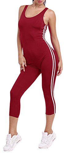Delcoce Low Cut Back Stripe Athletic Fitness Rompers Wine Red Jumpsuit For Women Sexy L