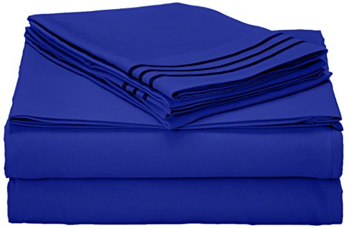 Elegant Comfort 1500 Thread Count Wrinkle Resistant Egyptian Quality Ultra Soft Luxurious 4-Piece Bed Sheet Set, Full, Royal Blue