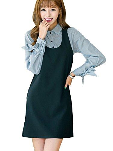 (ミニマリ) minimali ブラウス ツーピース ドレス 長袖 ストライプ リボン袖 シャツ 黒 ミニワンピース 2点セット
