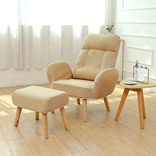 レジャーソファ椅子デッキチェアリクライニングダイニングチェア寝室ベッドサイドの椅子妊娠中の女性の椅子アームレスト背もたれ調節可能な椅子読書椅子 (Color : Khaki)