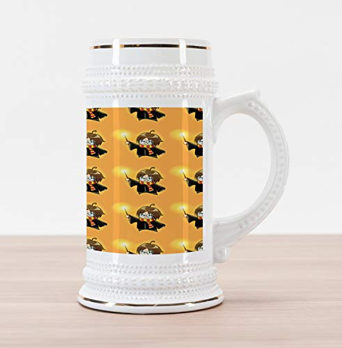 Ambesonne Wizard Beer Stein Mug, Cartoon Wizard Character with Glasses in Costume Frock with Magical Wand Print, Traditional Style Decorative Printed Ceramic Large Beer Mug Stein, Orange Black -