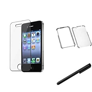Quaroth eForCity T-Clear Phone Protector Case Cover + Protector + Stylus compatible with Apple iPhone 4G 4S
