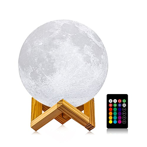 Moon Lamp with Stand(Diameter 4.8 inch), LOGROTATE 16 Colors 3D Print Moon Light with Remote & Touch Control and USB Recharge, Moon Light Lamps for Baby Kids Lover Birthday Party Gifts (Lite Recharge)