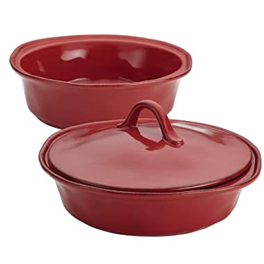 Rachael Ray 3-Piece Cucina Stoneware Round Baker and Lid Set, Cranberry Red
