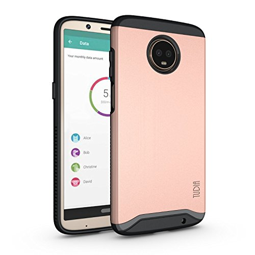 Moto Z3 Play Case, Moto Z3 Case, TUDIA Slim-Fit Heavy Duty [Merge] Extreme Protection/Rugged but Slim Dual Layer Case for Motorola Moto Z3 Play (Rose Gold)