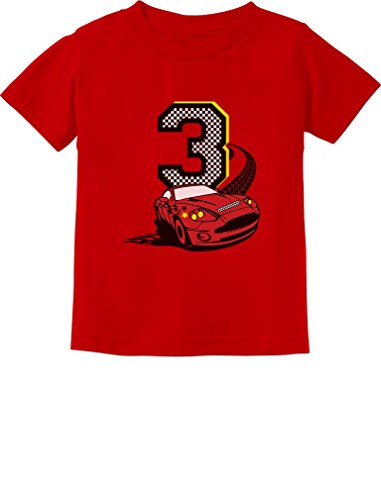 3rd Birthday 3 Year Old Boy Race Car Party Toddler Kids T-Shirt 3T Red