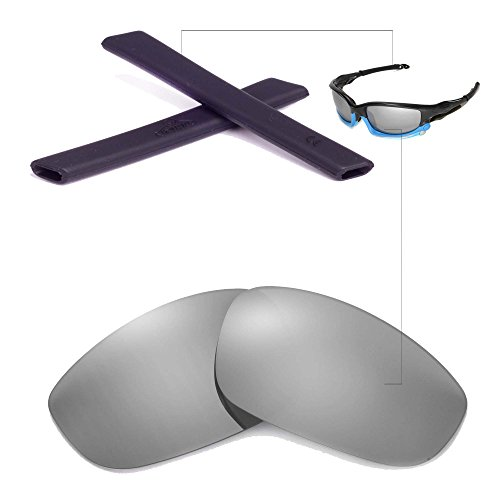 New Walleva Replacement Lenses And Earsocks For Oakley Split Jacket - Mulitple Options (Titanium Polarized Lenses + Black - Jacket Split Oakley Lens