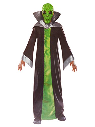 Boys Spaced Out Alien Halloween Costume Mask, Collar & Robe S4-6