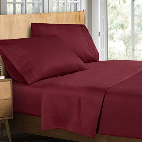 Clara Clark Supreme 1500 Collection 4pc Bed Sheet Set - Queen Size, Burgundy Red
