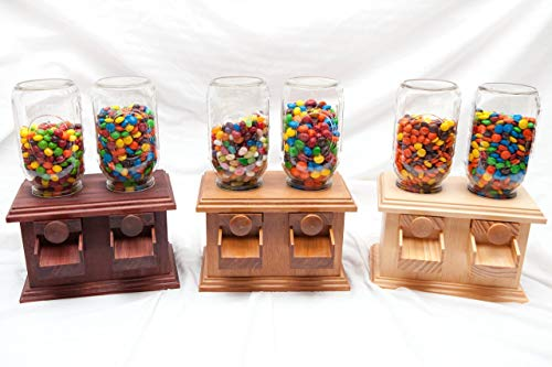 Wooden Candy - Hand-made DOUBLE Wooden Candy Dispenser - M&M Peanut Skittles Snack - Wood Candy Dispenser - DavesWoodDesigns