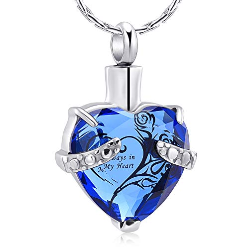constantlife Crystal Heart Shape Cremation Jewelry Memorial Urn Necklace for Ashes, Stainless Steel Ash Holder Pendant Keepsake with Gift Box Charms Accessories for Women (Blue + Black)
