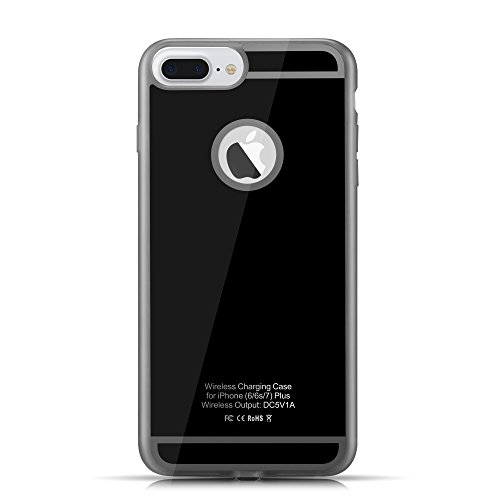 Wireless Receiver Case for iPhone 7 Plus and iPhone 6(s) Plus, Qi Wireless Charging Case with Flexible Lightning Connector (black)