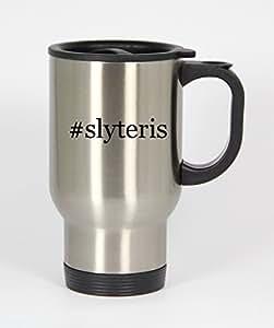 #slyteris - Funny Hashtag 14oz Silver Travel Mug