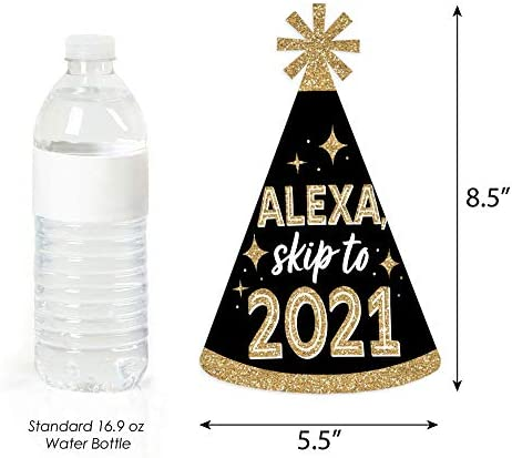 Big Dot of Happiness Alexa Skip to 2021 - New Year's Eve Resolution Cone Party Hats for Kids and Adults - Set of 8 (Standard Size)