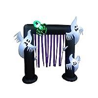 BZB Goods 8 pies iluminados Halloween fantasmas inflables y decoración de arco de araña con serpentinas púrpura