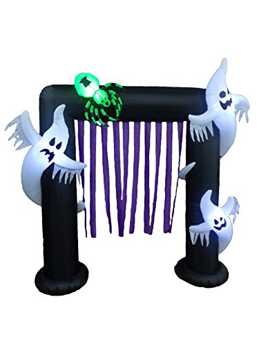 BZB Goods 8 Foot Illuminated Halloween Inflatable Ghosts and Spider Archway Decoration with Purple Streamers]()