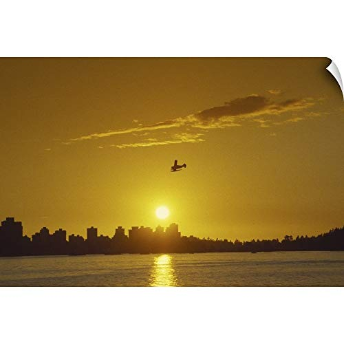 CANVAS ON DEMAND Seaplane, Sunset, Vancouver, British Columbia, Canada Wall Peel Art Print, 18