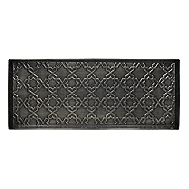 Home Furnishings by Larry Traverso Tile Pattern Metal Boot Tray, Zinc Finish, 30 by 13-Inches