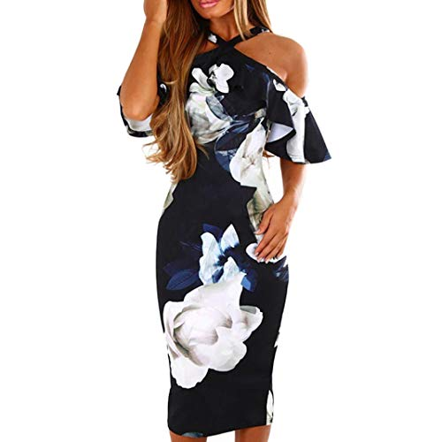 f82ce69bbf6f Womens Halter Ruffle Cross Short Sleeve Off The Shoulder Summer Floral  Print Bodycon Midi Dress Evening
