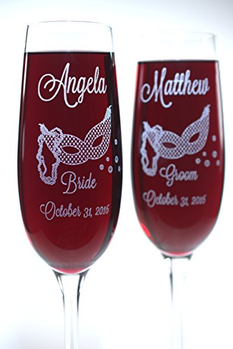 Bride and Groom Masquerade Themed Wedding Champagne Flutes personalized with Names and Date, and Mr and Mrs Cherrywood Flute Charms. ()